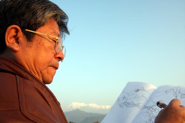 2009年于志学在尼泊尔写生-卢平摄于老皇宫