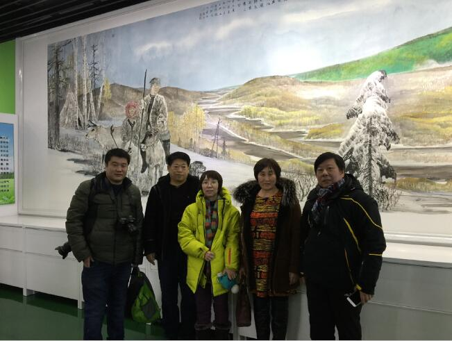 2016年冰雪画派参加内蒙古根河汗马生态文化馆巨幅中国画《大兴安岭》作品揭幕仪式