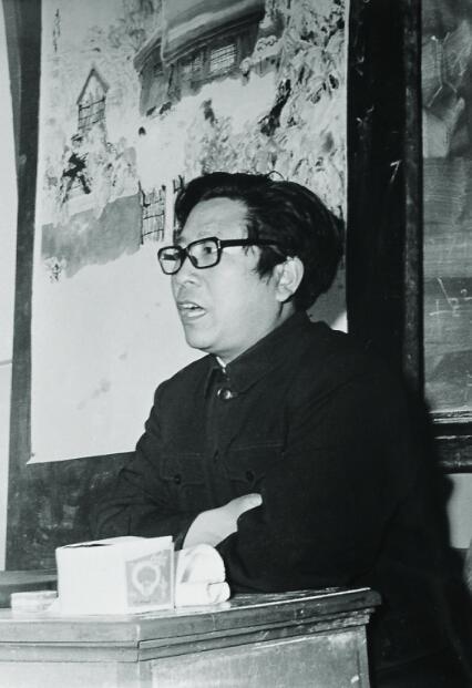 1981年于志学在黑龙江省肇东冰雪画学习班上讲课