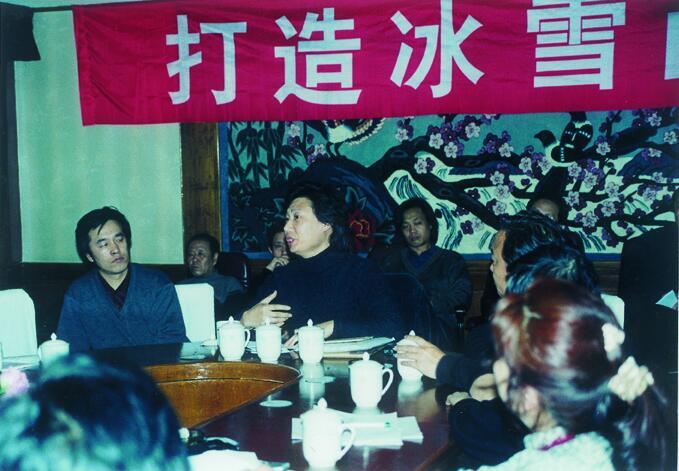 2002年上海美术馆研究员曲藏部主任尚辉在冰雪画派二届展研讨会做主题发言