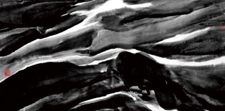 5、杜平 ·《朦胧的远山》· 纸本水墨 · 138X70cm · 2017.jpg